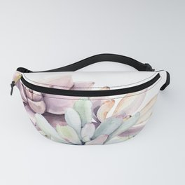 Desert Succulents on White Fanny Pack