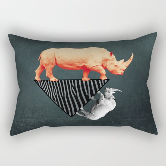 The orange rhinoceros who wanted to become a zebra Rectangular Pillow