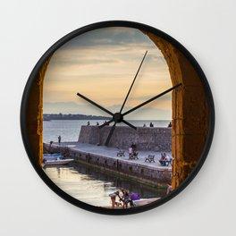 Sunset in Cefalu Wall Clock