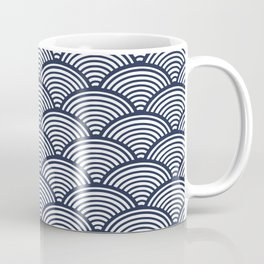 Japanese Waves Navy Coffee Mug