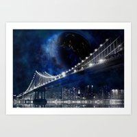 new york city Art Prints featuring New!! New York City by Simone Gatterwe