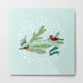 Bullfinches sitting on conifer branch Metal Print