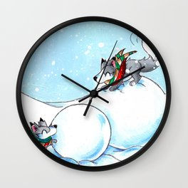 Snowman Building Wall Clock