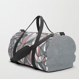 Urban Geometric Pattern on Concrete - Dark grey and pink Duffle Bag