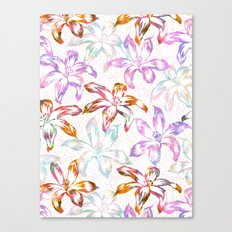 Aztec Sunrise Floral - White Canvas Print