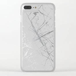 Silver Splatter 089 Clear iPhone Case