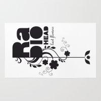 radiohead Area & Throw Rugs featuring Last flowers Song - Radiohead - black version by LilaVert