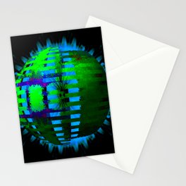 Green Layered Star in Aqua Flames Stationery Cards