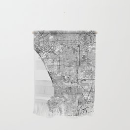 Los Angeles White Map Wall Hanging
