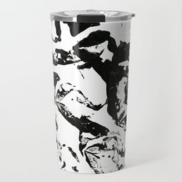 abstract paint strokes - black and white Travel Mug
