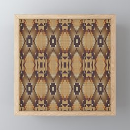 Khaki Tan Orange Dark Brown Native American Indian Mosaic Pattern Framed Mini Art Print