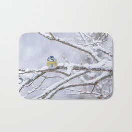 Blue Tit On A Snowy Branch Winter Scene #decor #society6 Bath Mat