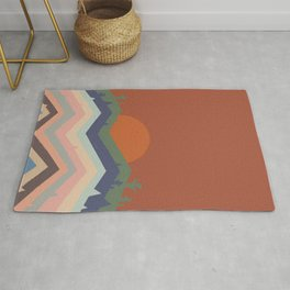 Abstraction mountain and sun landscape  Rug
