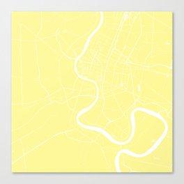 Bangkok Thailand Minimal Street Map - Pastel Yellow and White II Canvas Print