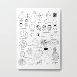 Hand  drawn collection of various fruits Metal Print