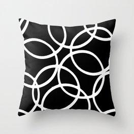 Interlocking White Circles Artistic Design Throw Pillow