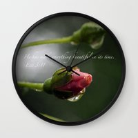 scripture Wall Clocks featuring Pink Rosebud with scripture. by The Time Catcher