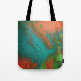 Rusty Jade: Acrylic Pour Painting Tote Bag