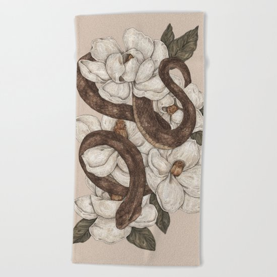 Snake and Magnolias Beach Towel