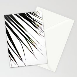 Windswept Tropical Palm Tree In Black Stationery Cards