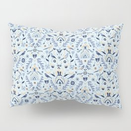 Blue Folk Milk Maids Pattern Pillow Sham