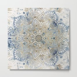 Mandala Flower, Blue and Gold, Floral Prints Metal Print