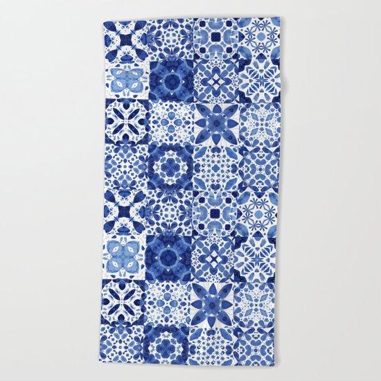 Indigo Watercolor Tiles Beach Towel