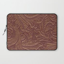 Chocolate Brown Tooled Leather Laptop Sleeve
