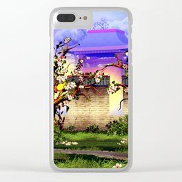 Cherry tree blossom in front of the temple Clear iPhone Case