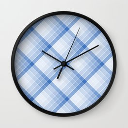 Sky Blue Geometric Squares Diagonal Check Tablecloth Wall Clock