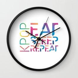 Eat Sleep K-Pop Repeat KPop Korean Hangul Seoul Wall Clock
