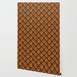 Gold and brown vintage damask pattern Wallpaper