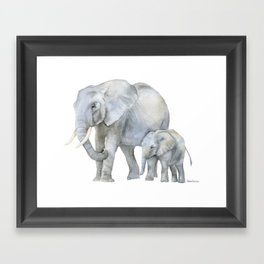 Mother and Baby Elephants Framed Art Print