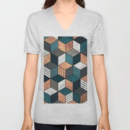 Copper, Marble and Concrete Cubes 2 with Blue Unisex V-Neck