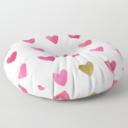 Watercolor Hearts - Pink, Red and Gold Floor Pillow