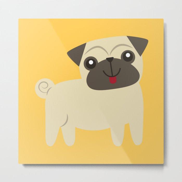 Happy Pug on Mustard Metal Print