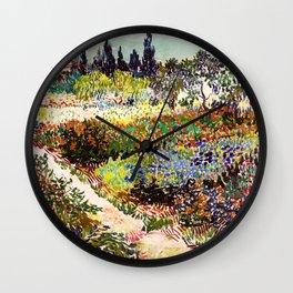Vincent Van Gogh Flowering Garden Wall Clock