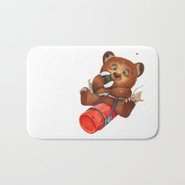A little bear having a picnic lunch Bath Mat