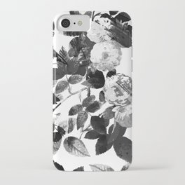 Black and white transparent roses iPhone Case