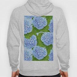 Blue hydrangea watercolor pattern Hoody
