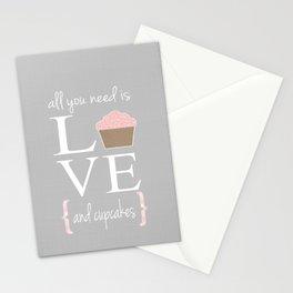 All you need is love and cupcakes... Stationery Cards