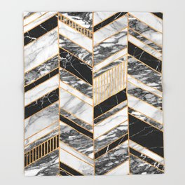 Abstract Chevron Pattern - Black and White Marble Throw Blanket