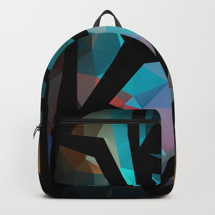 Abstract background of triangles polygon print. Backpack