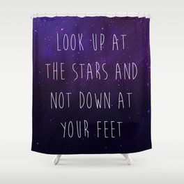 Look Up At The Stars Motivational Quote Shower Curtain