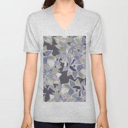 Mauve gray lavender silver watercolor floral Unisex V-Neck