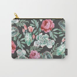 Pink Roses and Succulent Cactus Pattern on Black Carry-All Pouch