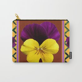 MAROON PURPLE & YELLOW SPRING PANSIES  GARDEN Carry-All Pouch