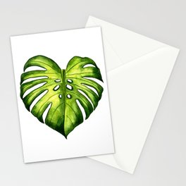 Monstera leaf in watercolor Stationery Cards
