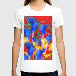 YELLOW & AZURE BLUE CALLA LILIES RED ART T-shirt