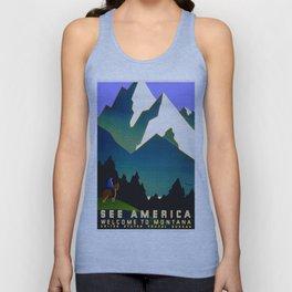 See America Montana - Retro Travel Poster Unisex Tank Top